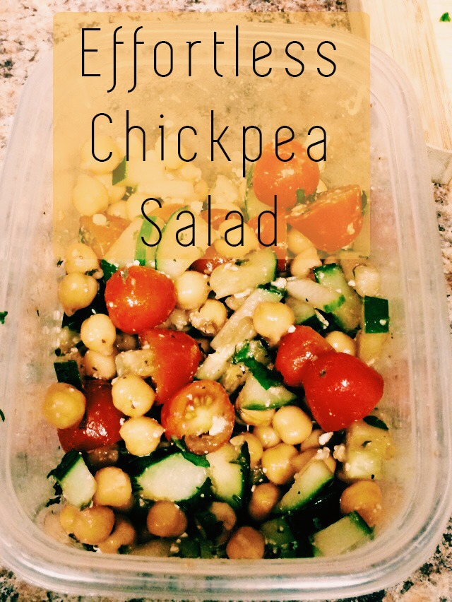 Do you ever have those days when you want something healthy but have no desire to put in the effort? I've had many of those days and one of them happened to be today. So I dug around in my pantry and created this simple chickpea salad with a delicious, light dressing and threw it into a to-go container.